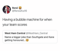 Soccer, Kane, and Ham: Rene  @Reneafca16  Having a bubble machine for when  your team scores  West Ham Central @WestHam_Central  Name a bigger joke than Southgate and Kane  getting honoured... 😂😂😂 https://t.co/kLXcKWSpiV