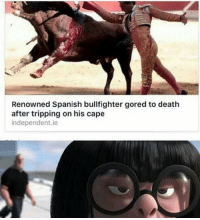 Spanish, Death, and Cape: Renowned Spanish bullfighter gored to death  after tripping on his cape  independent.ie NO CAPE