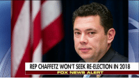 """Facebook, Family, and Memes: REP CHAFFETZ WON'T SEEK RE-ELECTION IN 2018  FOX NEWIS ALERT BreakingNews: Rep. JasonChaffetz will not seek re-election in 2018. """"After long consultation with my family and prayerful consideration, I have decided I will not be a candidate for any office in 2018,"""" Chaffetz wrote in a Facebook post."""