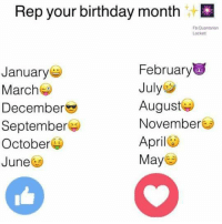 Birthday Month: Rep your birthday month  FbtQuantarian  Lockett  February  January  July  March  August  December  November  September  April  October  May  June