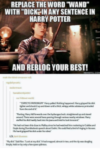 "Harry Potter, Lol, and Memes: REPLACE THE WORD WAND""  WITH ""DICK IN ANY SENTENCE IN  HARRY POTTER  AND REBLOG YOUR BEST!  MEMEFUL.COM  matt-the-blind-cinnamon-roll:  regularlyeratic:  zaubermauz:  haveabisoxitpotter:  our-hideout-world:  XPECTO PATRONUM!"" Harry yelled. Nothing happened. Harry gripped his dick  tighter and shook it up and down until a thick, whispy white substance protruded  from the end of it""  ""Panting, Harry fell forwards over the hydrangea bush, straightened up and stared  around. There were several faces peering through various nearby windows. Harry  stuffed his dick hastily back into his jeans and tried to look innocent""  He had not been this close to Malfoy since he had watched him muttering to Crabbe and  Goyle during Dumbledores speech about Cedric. He could feel a kind of ringing in his ears.  His hand gripped his dick under his robes""  LOL dark-blueeeee  ""My dick"" Said Ron. ""Look at my dick"" It had snapped, almost in two, and the tip was dangting  limply held on by only a few spare splinters. <p>Snapped wand via /r/memes <a href=""https://ift.tt/2Lpx9l7"">https://ift.tt/2Lpx9l7</a></p>"