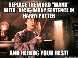 "matt-the-blind-cinnamon-roll:  regularlyerratic:  zaubermauz:  haveabiscxitpotter:  our-hideout-world:  """"EXPECTO PATRONUM!"" Harry yelled. Nothing happened. Harry gripped his dick tighter and shook it up and down until a thick, whispy white substance protruded from the end of it.""   ""Panting, Harry fell forwards over the hydrangea bush, straightened up and stared around. There were several faces peering through various nearby windows. Harry stuffed his dick hastily back into his jeans and tried to look innocent.""  ""He had not been this close to Malfoy since he had watched him muttering to Crabbe and Goyle during Dumbledore's speech about Cedric. He could feel a kind of ringing in his ears. His hand gripped his dick under his robes""  LOL dark-blueeeee  ""My dick."" Said Ron. ""Look at my dick."" It had snapped, almost in two, and the tip was dangling limply, held on by only a few spare splinters.  : REPLACE THE WORD ""WAND""  WITH ""DICK IN ANY SENTENCE IN  HARRY POTTER  AND REBLOG YOUR BEST!  MEMEFUL.COM matt-the-blind-cinnamon-roll:  regularlyerratic:  zaubermauz:  haveabiscxitpotter:  our-hideout-world:  """"EXPECTO PATRONUM!"" Harry yelled. Nothing happened. Harry gripped his dick tighter and shook it up and down until a thick, whispy white substance protruded from the end of it.""   ""Panting, Harry fell forwards over the hydrangea bush, straightened up and stared around. There were several faces peering through various nearby windows. Harry stuffed his dick hastily back into his jeans and tried to look innocent.""  ""He had not been this close to Malfoy since he had watched him muttering to Crabbe and Goyle during Dumbledore's speech about Cedric. He could feel a kind of ringing in his ears. His hand gripped his dick under his robes""  LOL dark-blueeeee  ""My dick."" Said Ron. ""Look at my dick."" It had snapped, almost in two, and the tip was dangling limply, held on by only a few spare splinters."