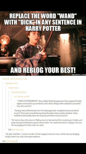 "New Harry Potter Sentencesomg-humor.tumblr.com: REPLACE THE WORD ""WAND""  WITH ""DICKIN ANY SENTENCE IN  HARRY POTTER  AND REBLOG YOUR BEST!  MEMEFUL.COM  matt-the blind-cinnamon-o  EXPECTO PATRONUM! Harry yelled. Nothing happened. Harry gripped his dick  tighter and shook it up and down until a thick whispy white substance protruded  from the end of it  Panting, Harry fell forwards over the hydrangea bush, straightened up and stared  around. There were several faces peering through various nearby windows. Harry  stuffed his dick hastily back into his jeans and tried to look innocent  He had not been this close to Malfoy since he had watched him muttering to Crabbe and  Goyle during Dumbledores speech about Cedric He could feel a kind of ringing in his ears  His hand gripped his dick under his robes  LOL  My dick Said Ron. ""Look at my dick It had snapped, almost in two, and the tip was dangling  limply held on by only a few spare splinters  (via New Harry Potter Sentencesomg-humor.tumblr.com"