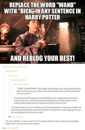 "Once you see this, it will change everything. And not in a good way.: REPLACE THE WORD ""WAND""  WITH ""DICKO IN ANY SENTENCE IN  HARRY POITER  AND REBLOG YOUR BEST!  MEMEFUL.COM  matt-the-blind-cin  roll:  regularlyerratic  aubemauz  our-hideout-wor  EXPECTO PATRONUM! Harry yelled. Nothing happened. Harry gripped his dick  tighter and shook it up and down until a thick, whispy white substance protruded  from the end of it""  ""Panting, Harry fell forwards over the hydrangea bush, straightened up and stared  around. There were several faces peering through various nearby windows. Harry  stuffed his dick hastily back into his jeans and tried to look innocent""  He had not been this close to Malfoy since he had watched him muttering to Crabbe and  Goyle during Dumbledores speech about Cedric. He could feel a kind of ringing in his ears.  His hand gripped his dick under his robes  LOL dark  ""My dick. Said Ron. ""Look at my dick"" lt had snapped, almost in two, and the tip was dangling  limply, held on by only a few spare splinters.  (via faultinourgays) Once you see this, it will change everything. And not in a good way."