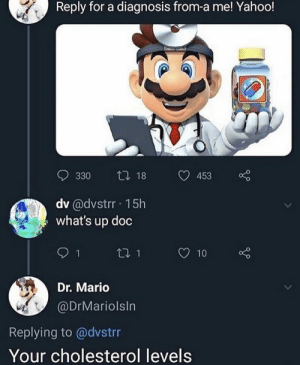 .: Reply for a diagnosis from-a me! Yahoo!  t 18  330  453  dv @dvstrr 15h  what's up doc  t1 1  10  Dr. Mario  @DrMariolsIn  Replying to @dvstrr  Your cholesterol levels .