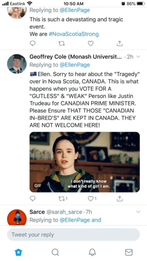 Reply to Ellen Page's tweet sending condolences for the recent shooting in NS, Canada.: Reply to Ellen Page's tweet sending condolences for the recent shooting in NS, Canada.