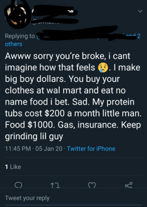 Classism from middle class people...: Replying to  and 2  others  Awww sorry you're broke, i cant  imagine how that feels 9. I make  big boy dollars. You buy your  clothes at wal mart and eat no  name food i bet. Sad. My protein  tubs cost $200 a month little man.  Food $1000. Gas, insurance. Keep  grinding lil guy  11:45 PM · 05 Jan 20 · Twitter for iPhone  1 Like  Tweet your reply Classism from middle class people...
