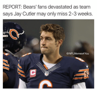 And that's the truth!!!: REPORT: Bears' fans devastated as team  says Jay Cutler may only miss 2-3 weeks.  NFLMemes4You And that's the truth!!!