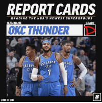 Report cards are in for the NBA's newest 'supergroups' 👀💯 [Link in bio for all team grades] Sponsored via @theScore: REPORT CARDS  GRADING THE NBA'S NEWEST SUPERGROUPS  TEAM NAME  GRADE  OKC THUNDER T  KLH OKLAHOMA  CITY  TY  CIT  LINK IN BIO Report cards are in for the NBA's newest 'supergroups' 👀💯 [Link in bio for all team grades] Sponsored via @theScore