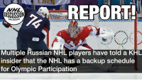 Perhaps the door isn't closed for Olympic participation... Another case for this suggestion is how odd the start of the NHL schedule for next year is... Perhaps this was put in place for a reason... Many teams only have 1-2 games in the first 10 days of the season. Perhaps games during the Olympic break would be moved to then... Russia KHL NHLDiscussion Olympics 2018 Oshie Bobrovsky Bettman: REPORT  NHL  DISCUSSION  74  Multiple Russian NHL players have told a KHL  insider that the NHL has a backup schedule  for Olympic Participation Perhaps the door isn't closed for Olympic participation... Another case for this suggestion is how odd the start of the NHL schedule for next year is... Perhaps this was put in place for a reason... Many teams only have 1-2 games in the first 10 days of the season. Perhaps games during the Olympic break would be moved to then... Russia KHL NHLDiscussion Olympics 2018 Oshie Bobrovsky Bettman