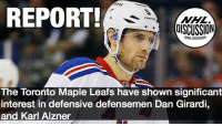 Which rearguard is a better fit for the Leafs? Girardi Alzner NHLDiscussion Leafs Toronto: REPORT  NHL  DISCUSSION  The Toronto Maple Leafs have shown significant  interest in defensive defensemen Dan Girardi,  and Karl Alzner Which rearguard is a better fit for the Leafs? Girardi Alzner NHLDiscussion Leafs Toronto