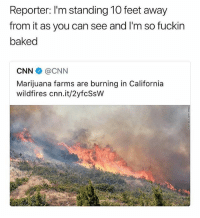 Baked, cnn.com, and Memes: Reporter: I'm standing 10 feet away  from it as you can see and I'm so fuckin  baked  CNN辛@CNN  Marijuana farms are burning in California  wildfires cnn.it/2yfcSsW The whole state is high now • Follow @savagememesss for more posts daily