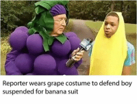 Memes, Banana, and 🤖: Reporter wears grape costume to defend boy  suspended for banana suit Real recognize real