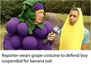 Club, Tumblr, and Banana: Reporter wears grape costume to defend boy  suspended for banana suit laughoutloud-club:  Real recognize real