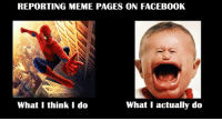 what i actually do: REPORTING MEME PAGES ON FACEBOOK  What I actually do  What I think I do