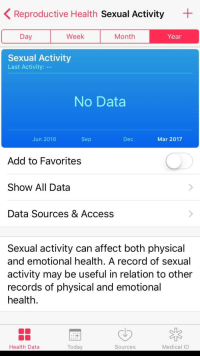 Access, Affect, and Record: Reproductive Health Sexual Activity  Day  Week  Month  Year  Sexual Activity  Last Activity:  No Data  Jun 2016  Sep  Dec  Mar 2017  Add to Favorites  Show All Data  Data Sources & Access  Sexual activity can affect both physical  and emotional health. A record of sexual  activity may be useful in relation to other  records of physical and emotional  health  Health Data  Today  Sources  Medical ID Me😩irl