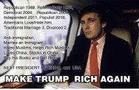 You Can't make up a Better Story about a Rich Gangster ruling the World.: Republican 1988, Reform Party 1999  Democrat 2004, Republican 2009  Independent 2011, Populist 2016,  Americans Love/Hate him  Traditional Marriage 3, Divorced 2,  Anti-immigration,  Marries an Immigrant  Hates Muslims, Helps Rich Muslims  Loves China, Stocks in China  Buy His Books and Get Rich.  NEXT PRESIDENT OF CHINA and USA  MAKE TRUMP RICH AGAIN You Can't make up a Better Story about a Rich Gangster ruling the World.