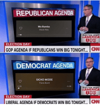 republican: REPUBLICAN AGENDA  Mo Bamba  Sheck Wes  ELECTION NIGH  nAMERICA  ELECTION DAY  GOP AGENDA IF REPUBLICANS WIN BIG TONIGHT...  DEMOCRAT AGENDA  SICKO MODE  Travis Scott  0:05  5:08  ELECTION NIGNT  nAMERIC  315002  ELECTION DAY  LIBERALAGENDA IF DEMOCRATS WIN BIG TONIGHT, CN