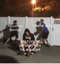"""Grandpa, Republican, and Liberal: Republican  grandpa  Liberal au  e trying to  get away from  the argument <p>Could be used for a lot. via /r/MemeEconomy <a href=""""https://ift.tt/2lVqKTT"""">https://ift.tt/2lVqKTT</a></p>"""
