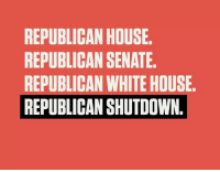 "From the douche behind ""art of the deal."": REPUBLICAN HOUSE.  REPUBLICAN SENATE  REPUBLICAN WHITE HOUSE  REPUBLICAN SHUTDOWN. From the douche behind ""art of the deal."""