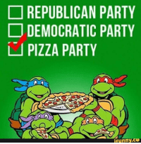 My favorite kind of party! If you don't agree you a pizza chip! 😂🍕: REPUBLICAN PARTY  DEMOCRATIC PARTY  PIZZA PARTY  funny. My favorite kind of party! If you don't agree you a pizza chip! 😂🍕