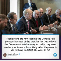 Taxes, Trump, and Tax: Republicans are now leading the Generic Poll,  perhaps because of the popular Tax Cuts which  the Dems want to take away. Actually, they want  to raise your taxes, substantially. Also, they want to  do nothing on DACA, R's want to fix!  Donald J. Trump*  @real DonaldTrump Republicans are now leading the Generic Poll, perhaps because of the popular Tax Cuts which the Dems want to take away!