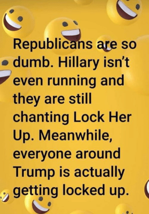 Chanting: Republicans are so  o dumb. Hillary isn't  even running and  they are still  chanting Lock Her  Up. Meanwhile,  evervone around  Trump is actually  getting locked up.