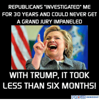 """Lol, Trump, and Grand: REPUBLICANS """"INVESTIGATED"""" ME  FOR 30 YEARS AND COULD NEVER GET  A GRAND JURY IMPANELED  WITH TRUMP, IT TOOK  LESS THAN SIX MONTHS  PROUD DEMOCRAT LOL 😂"""