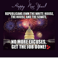 Memes, White House, and On the Road: REPUBLICANS OWNTHE WHITE HOUSE.  THE HOUSE AND THE SENATE.  NO MORE EXCUSES,  GET THE OBDONE! WISHING YOU ALL THE BEST FOR THE COMING YEAR AND IF YOU'RE GOING TO BE ON THE ROADS TONIGHT, PLEASE DON'T DRINK AND DRIVE... STAY SAFE EVERYONE!!!