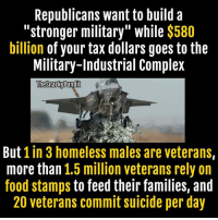 Complex, Homeless, and Memes: Republicans want to build a  stronger military while $580  billion of your tax dollars goes to the  Military-Industrial Complex  The SnarkyPundit  But  1 in 3 homeless males are veterans,  more than  1.5 million veterans rely on  food stamps to feed their families, and  20 veterans commit suicide per day War is a racket and Republicans don't care about our veterans.  < Snarky Pundit> LIKE and Follow for more!