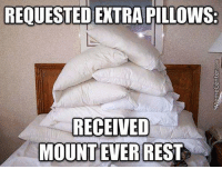Memes, 🤖, and Rest: REQUESTED EXTRA PILLOWS  RECEIVED  MOUNT EVER REST Badum tss!