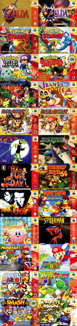 "Donkey, Nintendo, and Pokemon: REQUIRED  BA""LE YOUR POKEMON ON THE NG41  LEAGU E  Become,a Pokemon Puzzlo Master!  Bear& Bird are Back!   ENTER  DONKEY  A WHla  entu   SPIDERMAN  İNATSIME  Nintendo characte erniemetal83:  meanwhile-in-canada:  The games of my childhood - N64Somehow forgot to include Super Smash Bros. - sorry Tony Hawk, but I played way more SSB so you've been replaced!  Man, these games were amazing."