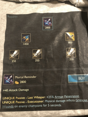 League of Legends, Physical, and Shield: Requires:  2800  800  1450  350  350  350  Mortal Reminder  BUY  2800  +40 Attack Damage  UNIQUE Passive Last Whisper: +25% Armor Penetration  UNIQUE Passive Executioner: Physical damage inflicts Grievous  Wounds on enemy champions for 5 seconds. i made a shirt for adc mains so i can get rid of my demotion shield