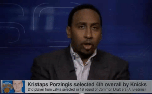 4 years ago today, the Knicks drafted Kristaps Porzingis and Stephen A. Smith lost it!     https://t.co/8AoOxxJqgx: rER  Kristaps Porzingis selected 4th overall by Knicks  2nd player from Latvia selected in 1st round of Common Draft era (A. Biedrins) 4 years ago today, the Knicks drafted Kristaps Porzingis and Stephen A. Smith lost it!     https://t.co/8AoOxxJqgx