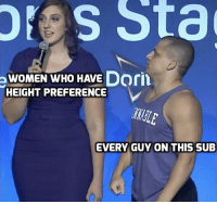 Women, Who, and Now: res Sta  WOMEN WHO HAVE Dorn  HEIGHT PREFERENCE  EVERY GUY ON THIS SUB This sub right now