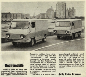 "scifiseries:  Soviet Electromobiles / 1972 / "" … improved electric vehicles may soon become a familiar sight in the pollution-conscious cities of the world, providing silent, fume-free service."": Research Institute have deve- supercharged milkfloat which  loped a vehicle they call the can quickly accelerate up to  Electromobile'. This vehicle 40 m.p.h. The range is only  represents a technical break about 60 miles, but improved  through for the Russians. t electric vehicles may soon be-  incorporates an a.c. motor (the come a familiar sight in the  more reliable type of electric pollution-conscious cities of the  motor, like those used in domes world, providing silent, fume free  tic vacuum cleaners) which is service.  fed a regulated current through  a frequency transformer and  thyristors.  Russia's clean air drive has  sparked off fresh interest in the  battery vehicle and designers of  the USSR Electromechanical  The result is a vehicle like a  . By Peter Brosnan scifiseries:  Soviet Electromobiles / 1972 / "" … improved electric vehicles may soon become a familiar sight in the pollution-conscious cities of the world, providing silent, fume-free service."""