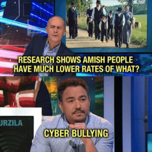 amish: RESEARCH SHOWS AMISH PEOPLE  HAVE MUCH LOWER RATES OF WHAT?  URZILA  CYBER BULLYING