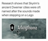 Lego, Memes, and Citi: Research shows that Skyrim's  ancient Dwemer cities were oft  named after the sounds made  when stepping on a Lego  a Arkngthamz ~Jessoon