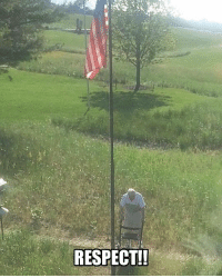 Memes, Respect, and Old: RESPECT! 96 Year Old WWII vet raising his flag!! Drop a like!