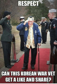 Memes, Respect, and Korean: RESPECT  CAN THIS KOREAN WAR VET  GET A LIKE AND SHARE?
