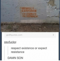 Memes, Respect, and Damn Son: RESPECT  EXISTENCE  OR EXPECT  RESISTANCF  graffquotes.com  psyfucks:  respect existence or expect  resistance  DAMN SON You already know! 🙌🏾 peep the message 👌🏾💯 exist resist