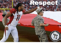 Larry Fitz has my respect. As a veteran, this is the kind of thing I love to see. You can have differing opinions, but should always maintain the respect. #LuckmyBoomstick  Side note: For those who don't know, we have to wear our cover (hat) at all times while outside. His had fallen off and he couldn't drop the flag so Fitz hooked him up. #RESPECT: Respect Larry Fitz has my respect. As a veteran, this is the kind of thing I love to see. You can have differing opinions, but should always maintain the respect. #LuckmyBoomstick  Side note: For those who don't know, we have to wear our cover (hat) at all times while outside. His had fallen off and he couldn't drop the flag so Fitz hooked him up. #RESPECT