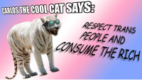 Fresh, Memes, and Respect: RESPECT TRANS  PEOPLE AND  CONSUME THE RICH frickin-fresh-memes:everyone should be more like carlos