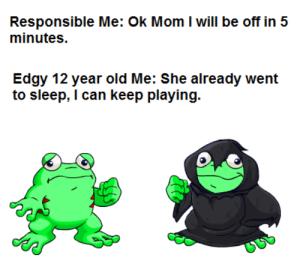 So true http://ift.tt/2gnoPDn: Responsible Me: Ok Mom I will be off in 5  minutes.  Edgy 12 year old Me: She already went  to sleep, I can keep playing. So true http://ift.tt/2gnoPDn