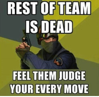 The paranoid mind of a gamer.: REST OF TEAM  IS DEAD  FEEL THEM JUDGE  YOUR EVERY MOVE The paranoid mind of a gamer.