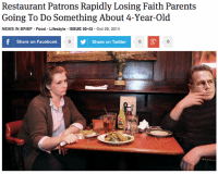 "Facebook, Food, and News: Restaurant Patrons Rapidly Losing Faith Parents  Going To Do Something About 4-Year-Old  NEWS IN BRIEF Food Lifestyle ISSUE 50.43 Oct 29, 2014  Share on Facebook  Share on Twitter  63  зу <p><a class=""tumblr_blog"" href=""http://theonion.tumblr.com/post/101272495283/restaurant-patrons-rapidly-losing-faith-parents"" target=""_blank"">theonion</a>:</p> <blockquote> <p><a href=""http://onion.com/1tDwY9h"" target=""_blank"">Restaurant Patrons Rapidly Losing Faith Parents Going To Do Something About 4-Year-Old</a></p> </blockquote>"