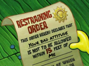 15 FEET..: RESTRAINING  ORDER  THIS ORDER HEREBY DECLARES THAT  YOUR BAD ATTITUDE  IS NOT TO BE ALLOWED  WITHIN 15 FEET OF  ME  OF WHICH 15 FEET..