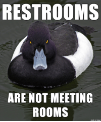 "Advice, Shit, and Tumblr: RESTROOMS  ARE NOT MEETING  ROOMS  1  made on imgur <p><a href=""http://advice-animal.tumblr.com/post/175835001561/cmon-guys-i-just-want-to-take-a-shit-in-peace"" class=""tumblr_blog"">advice-animal</a>:</p>  <blockquote><p>C'mon guys, I just want to take a shit in peace…</p></blockquote>"