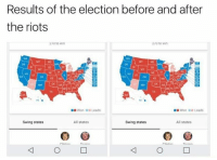 Dank, Riot, and 🤖: Results of the election before and after  the riots  270 to Win  210 to Win  MI  KS MO  Won III Leads  Won Leads  All states  All states  Swing states  Swing states  rintnn People need to calm down...