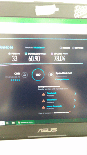 Facebook, Internet, and Work: Resut ID 83033640  SETTS  OPRNS ms  O DOWLOAD Mbps  OLOAD Mbps  78.04  33  60.90  Speedtest.net  CNR  to  155.253.249 75  GO  Amsterdam  Change Server  Maving Internst Prebleme  Popular services with reported issues  Facebook  Problems  Infostrada  Problems  A Intesa Sanpaoio  Problems  etector  View all outages on  Speedhes by a  ASUS Wanted to show you the heavenly beautifulness of the internet connection at my work place.